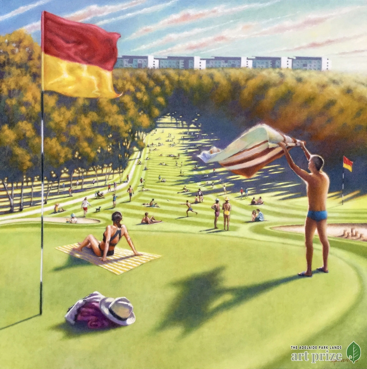 Artist christopher meadows between the flags