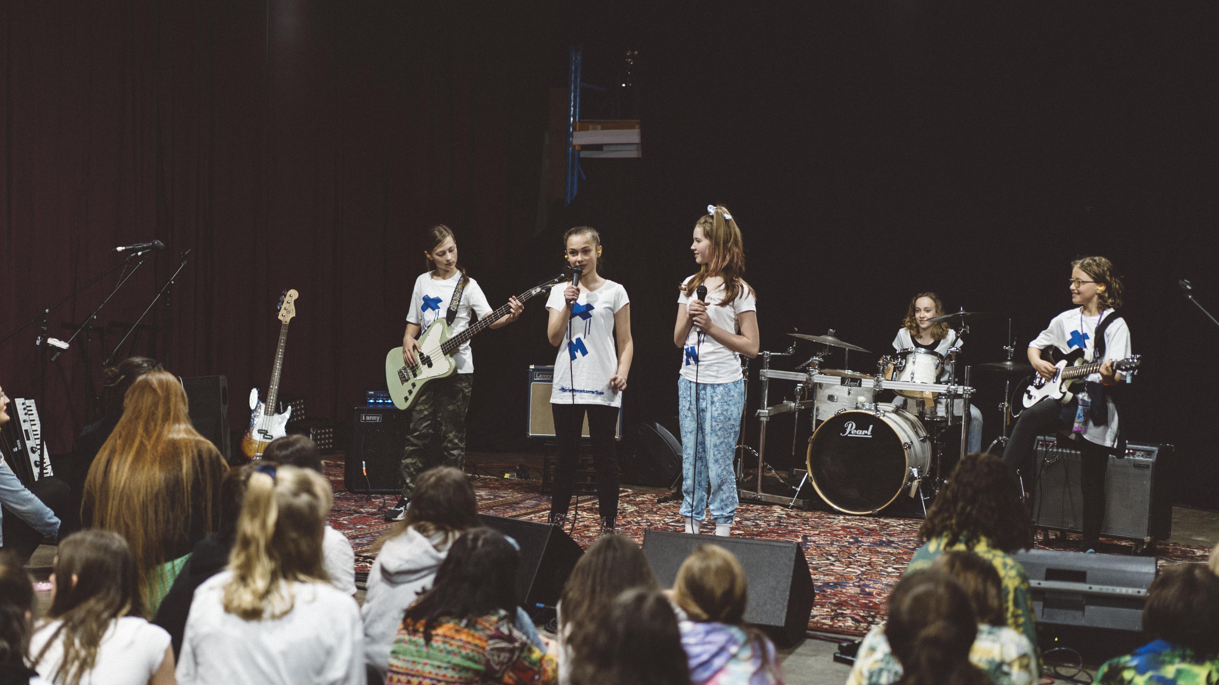 A girls rock performance