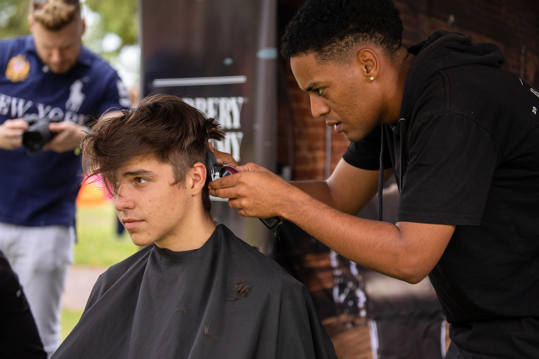Barber academy popup at parkfest