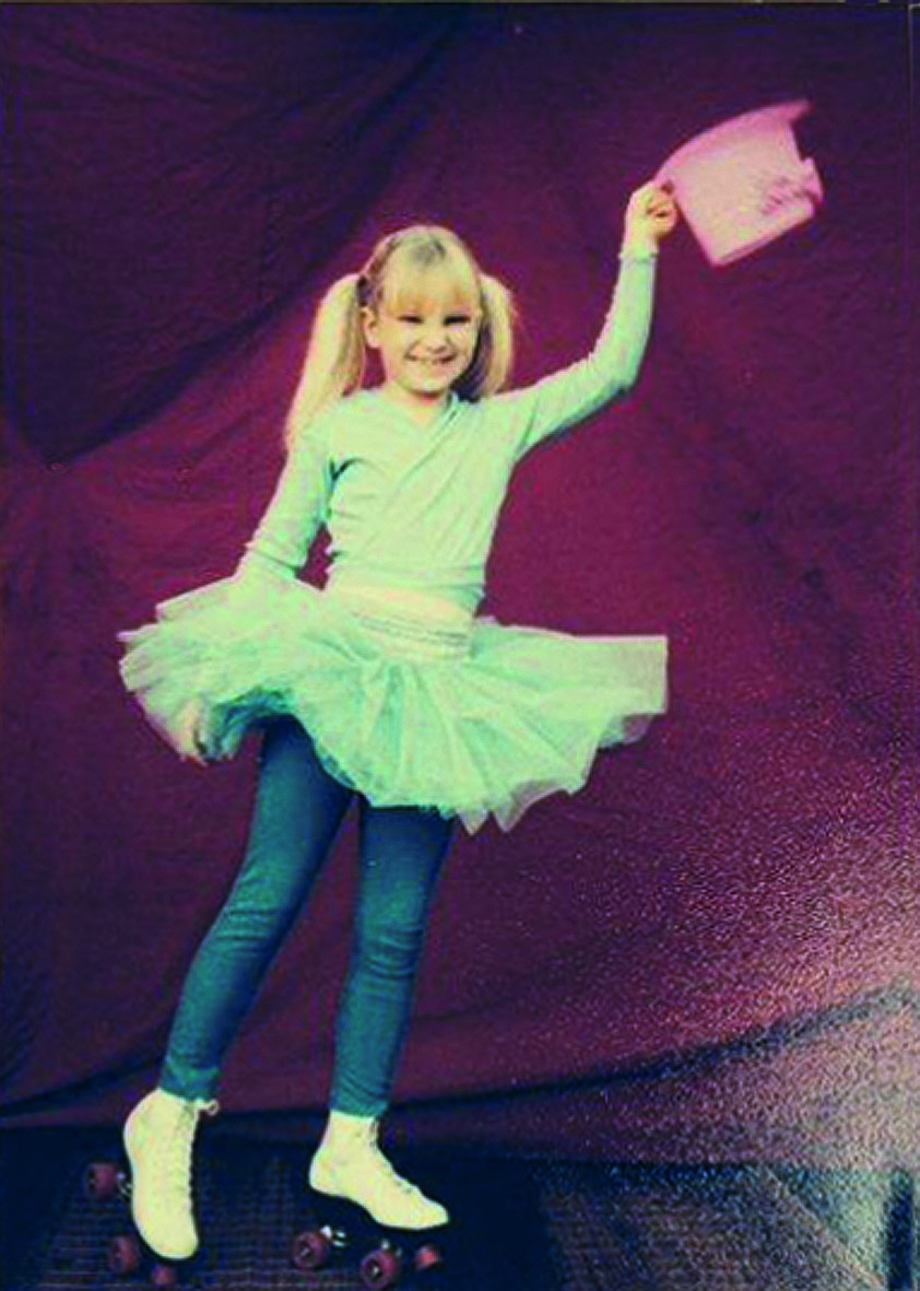 Sia furler on roller skates ready to perform as a child in adelaide photo courtesy of loene furler