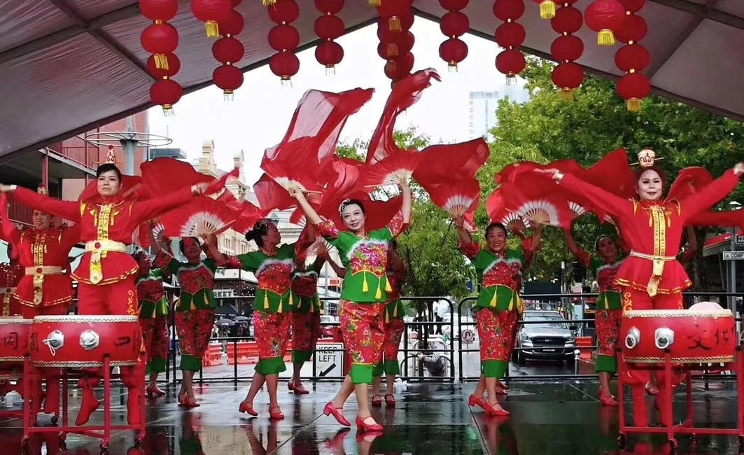 Lunar New Year 2020 dancers red costumes
