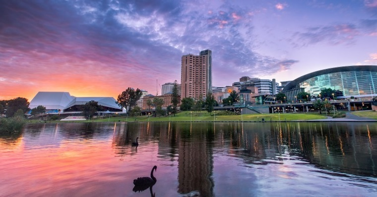 Adelaide sunset river torrens