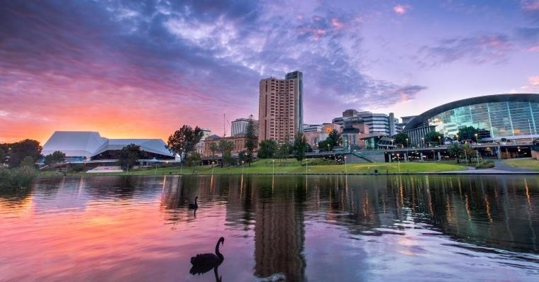 Adelaide sunset river torrens