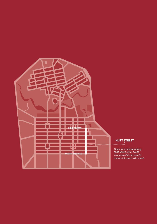 Map of Hutt Street Window Lighting Project locations