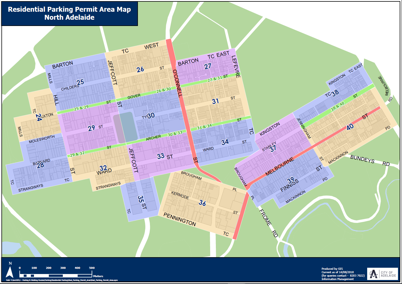 Map north adelaide parking areas