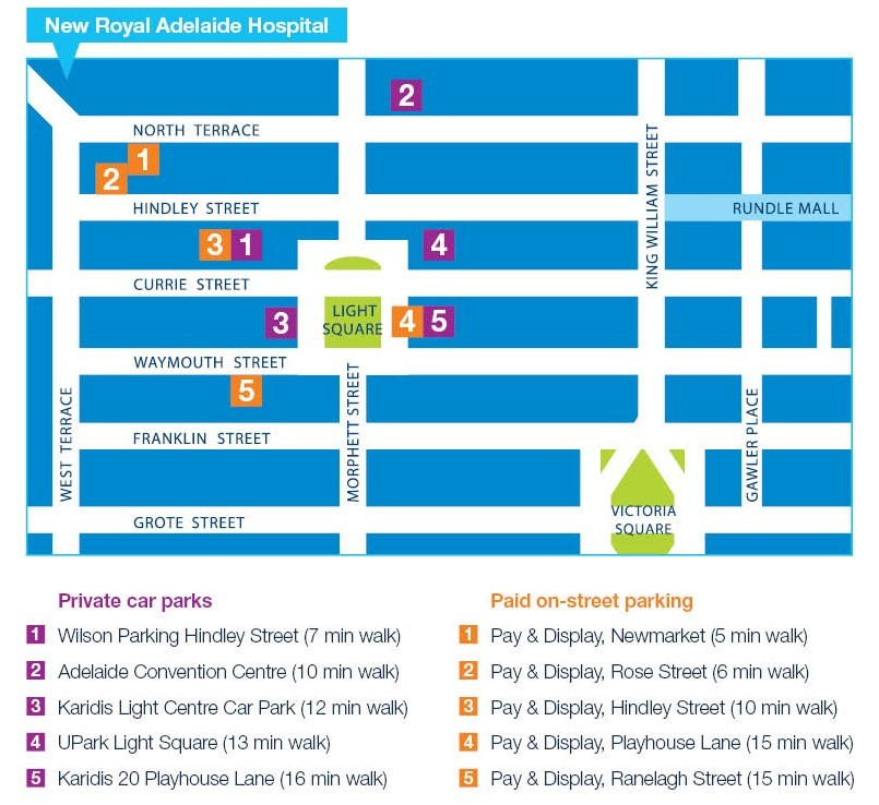 An image map showing parking nearby Royal Adelaide Hospital