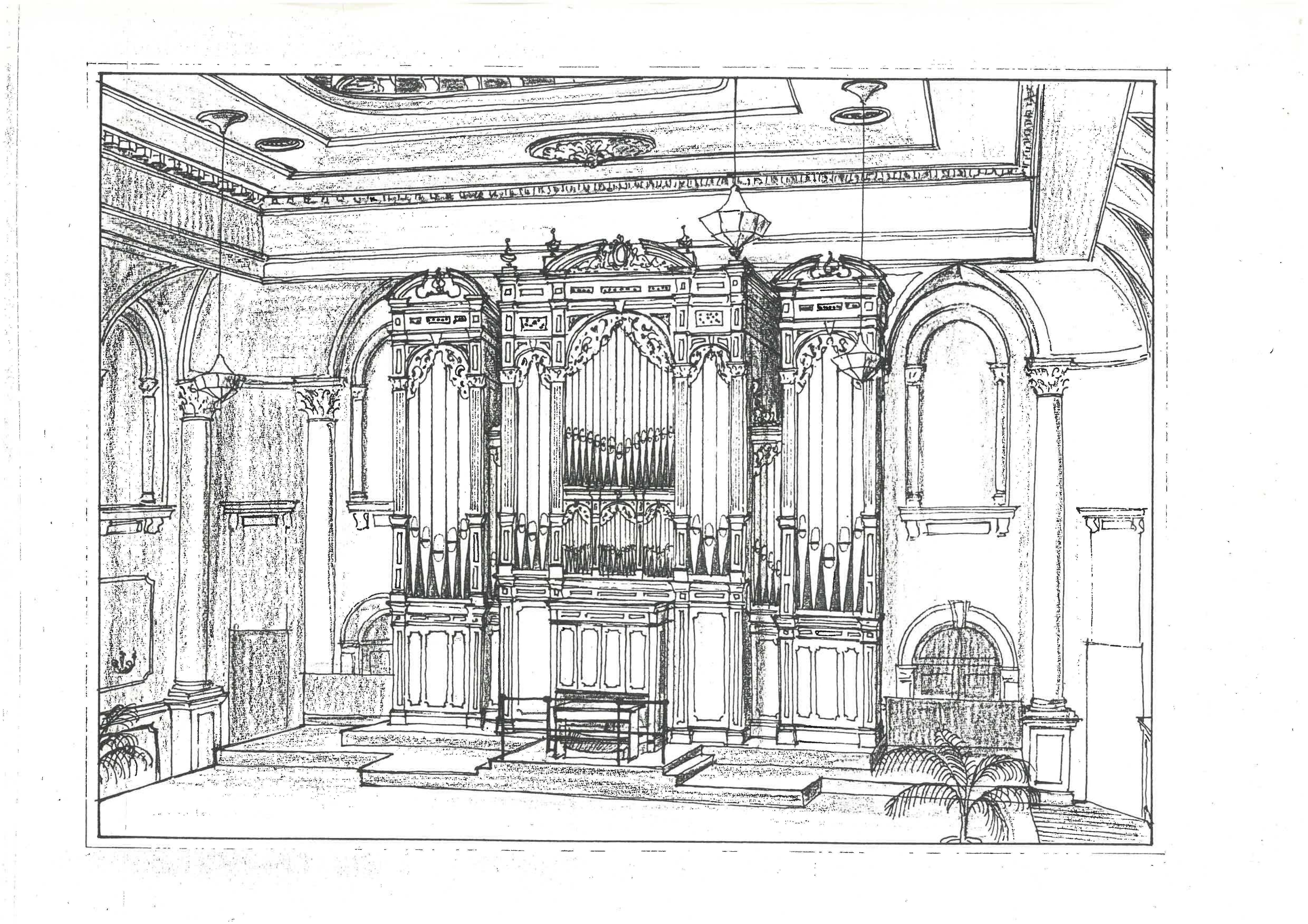 Sketch jw walker and sons organ adelaide town hall