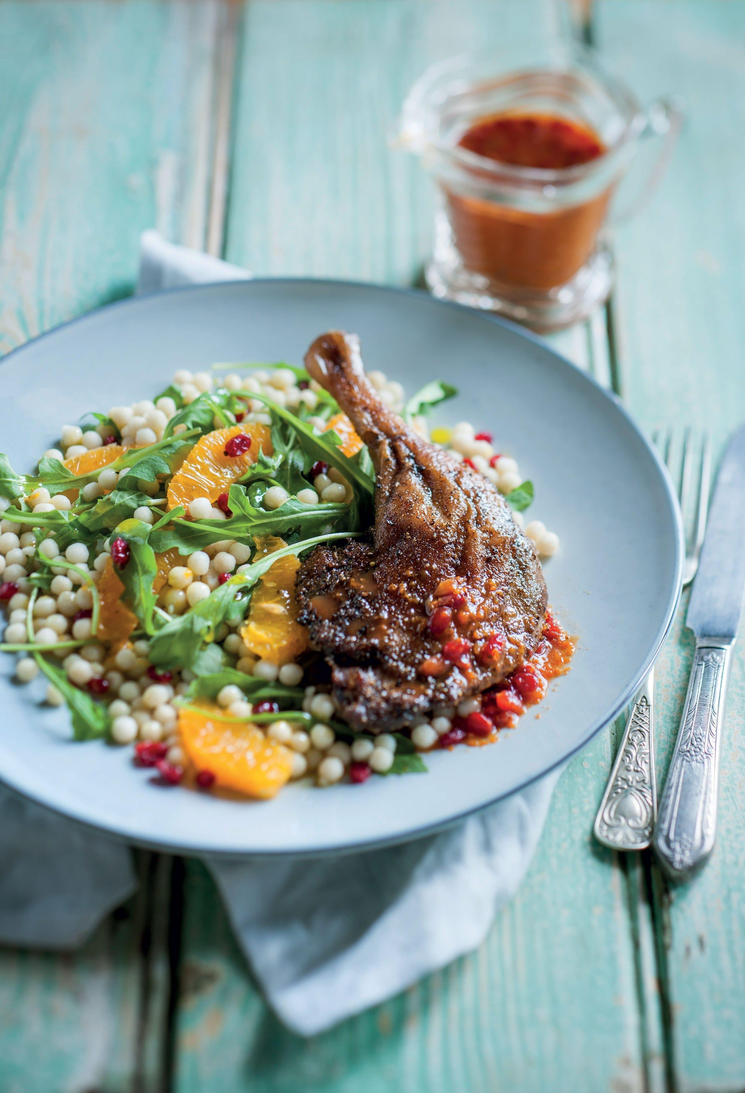 Optimised tangelo spiced duck and pearl cous cous salad